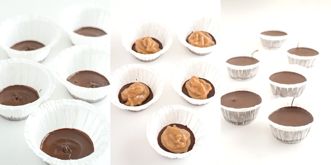 Vegan chocolate cups step by step