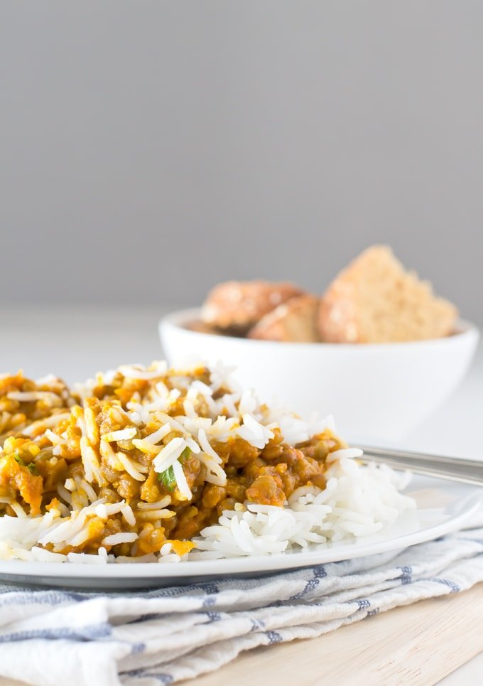 Vegan Lentil Curry - This vegan lentil curry is absolutely amazing. It's simple, exotic, spicy, tasty, creamy and has an intense coconut flavor. I like to serve it with rice.