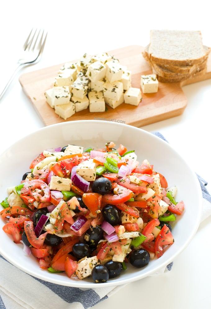 Greek salad with vegan tofu feta   minimaleats.com #minimaleats #vegan #glutenfree