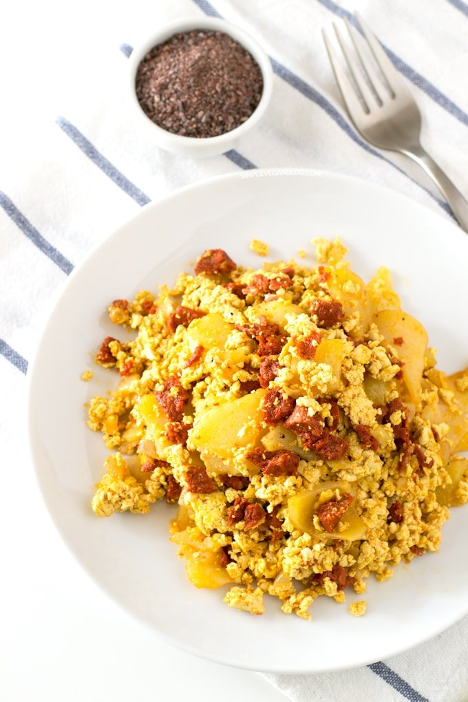 Vegan Spanish Tofu Scramble with Potatoes and Chorizo