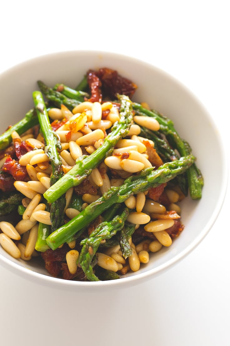 Asparagus, sun dried tomatoes and pine nuts