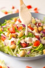Simple Salad with Oil Free Tahini Dressing
