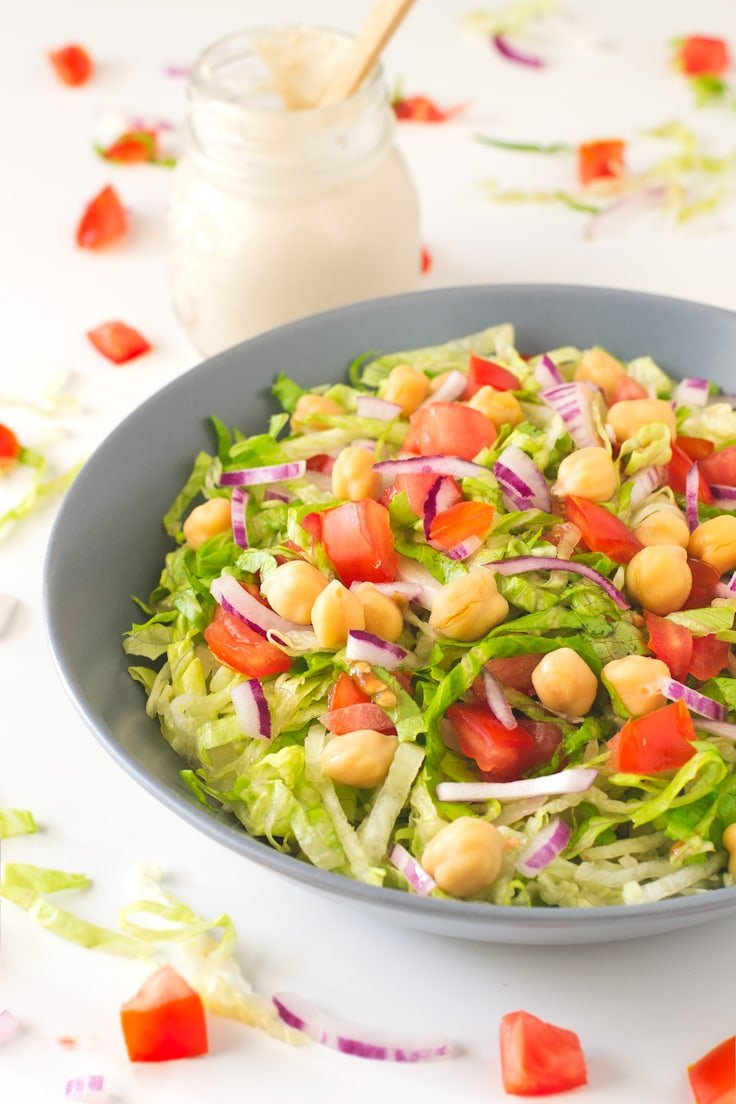 Simple Salad with Oil Free Tahini Dressing