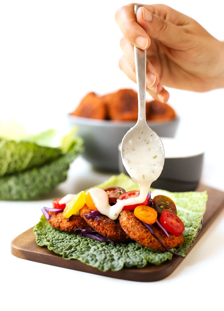 Falafel with vegan yogurt sauce | simpleveganblog.com #vegan #soyfree #healthy