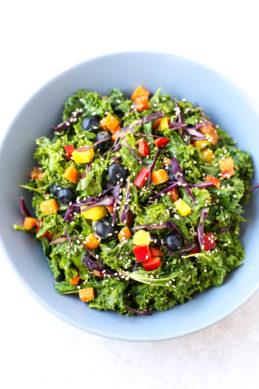 Oil Free Rainbow Kale Salad