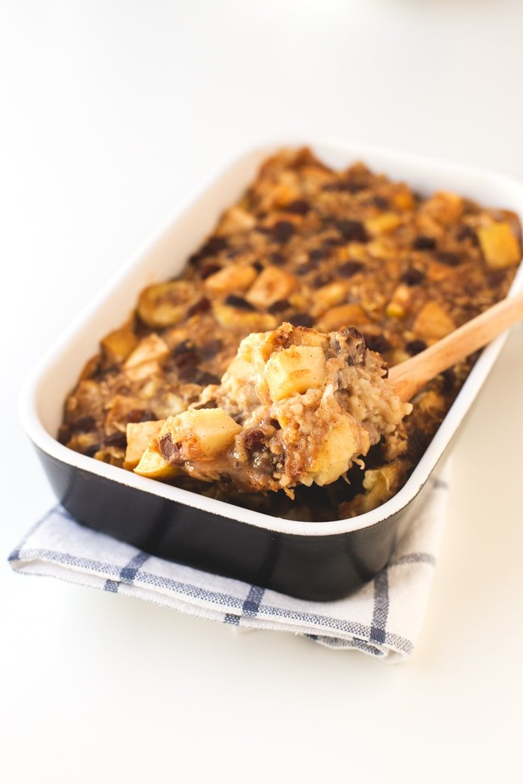 Apple pie baked oatmeal | simpleveganblog.com #vegan #breakfast # ...
