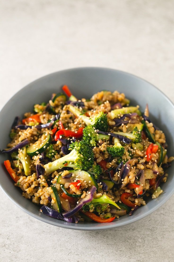 Brown rice stir fry with vegetables simple vegan blog forumfinder Image collections