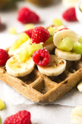 Vegan Gluten Free Waffles - 4-ingredient vegan gluten-free waffles! They're so delicious, healthy and easy to make. Hope you try this recipe! Feel free to add your favorite toppings.
