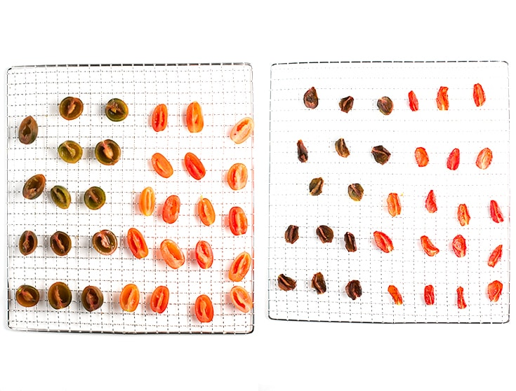 How to dehydrate tomatoes - To dehydrate tomatoes in a dehydrator is extremely easy, you just have to cut them in half, place them into the dehydrator trays and wait until they're done.