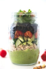 Vegan salad in a jar - This vegan salad in a jar is so convenient to eat on the go. Pour the dressing in the bottom of the jar to prevent some ingredients go soggy.