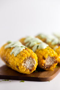 Grilled corn with vegan green aioli