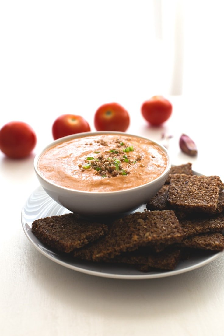 Porra antequerana - Porra antequera is a traditional Spanish tomato could soup, which is thicker than gazpacho or salmorejo, so you can eat it as a dip or a soup, you choose!