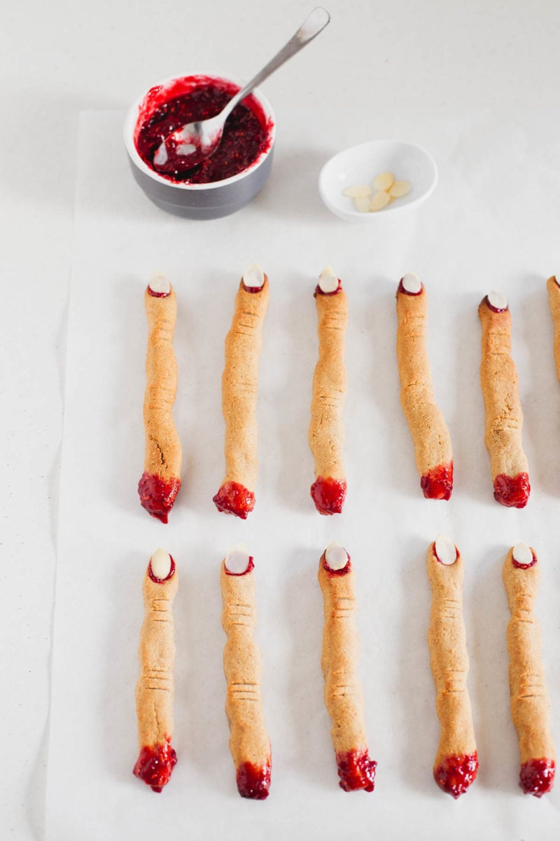 Vegan Halloween Witch Finger Cookies + Homemade Raspberry Jam - This vegan witch finger cookies are also gluten and oil-free and are made with super healthy ingredients like homemade raspberry jam.