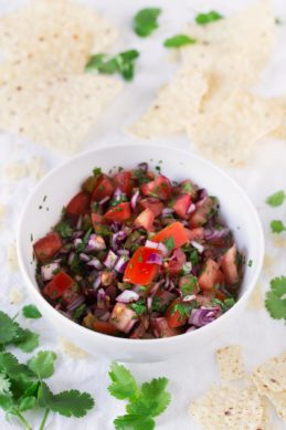 Pico de Gallo.- Everybody loves pico de gallo. It's a super healthy recipe and is ready in 5 or 10 minutes. We usually eat it with some tortilla chips.
