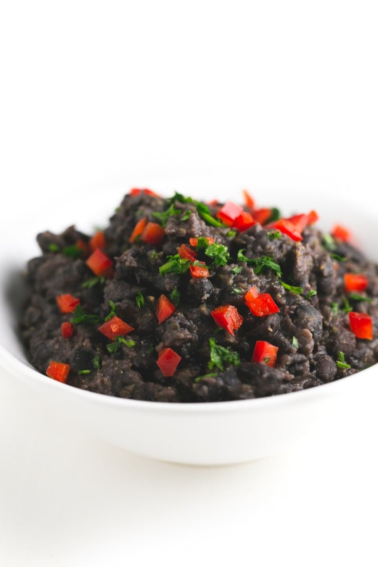 Cuban-style black beans - This recipe is simple, but so tasty and is ready in less than 30 minutes. I love my beans with rice, so I always eat this stew with some Basmati rice.