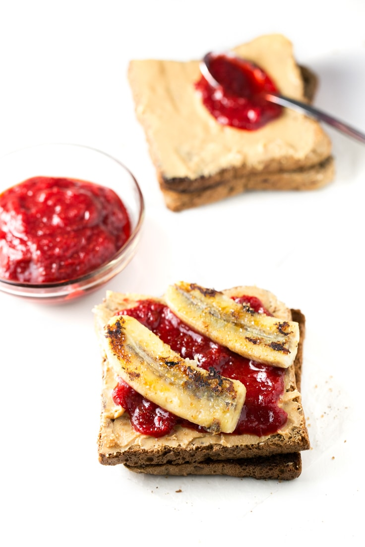 Peanut butter and rhubarb jelly sandwich - This is our version of the classic peanut butter jelly sandwich, but we used homemade rhubarb jelly and also added a cooked banana.