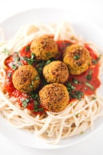 Ikea style vegan meatballs - I usually serve this Ikea-style vegan meatballs with some homemade tomato sauce or marinara and sometimes I also cook some pasta.