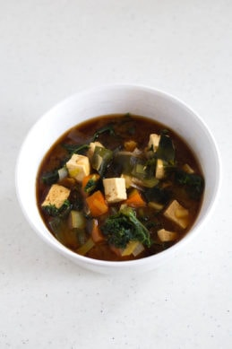Vegan Miso Soup With Tofu and Kale
