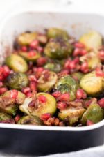 Roasted Brussels Sprouts with Pomegranate and Pecans . - Roasted Brussels sprouts! It's the perfect side for any main dish. This recipe is super tasty and simple. You need to give it a try!