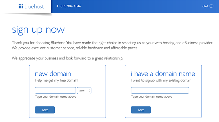 Domain name with bluehost