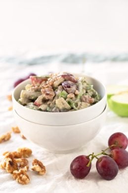 Vegan Waldorf Salad.- I'm obsessed with this vegan Waldorf salad. The dressing is so creamy, but is healthier and lighter than the traditional one.