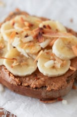 Peanut Butter, Banana, Coconut Toast. - To make these peanut butter, banana, coconut toast you just need 4 ingredients and 10 minutes. They're a delicious and simple breakfast, snack or dessert. #vegan #glutenfree #simpleveganblog