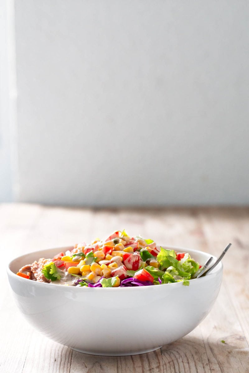 Vegan Burrito Bowl.- This burrito bowl is so tasty and satisfying. It's also a great way to use up leftovers and it can also be a great lunch box recipe.