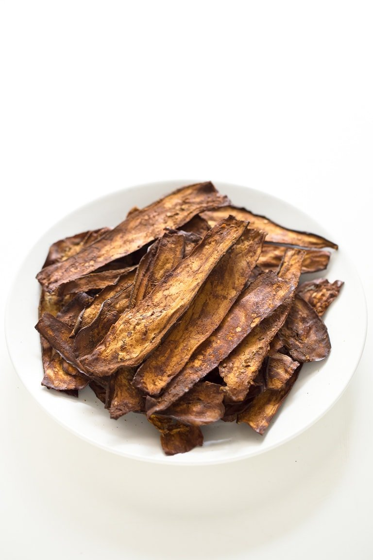 Eggplant Bacon. - Eggplant bacon is a healthier alternative to regular bacon and is also low in fat. You can bake or sauté it and is so tasty and crispy.