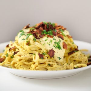 Vegan Pasta Carbonara. - You can enjoy a delicious and creamy vegan pasta carbonara in just 25 minutes. This is a gluten-free version, which is also healthier and lower in fat.