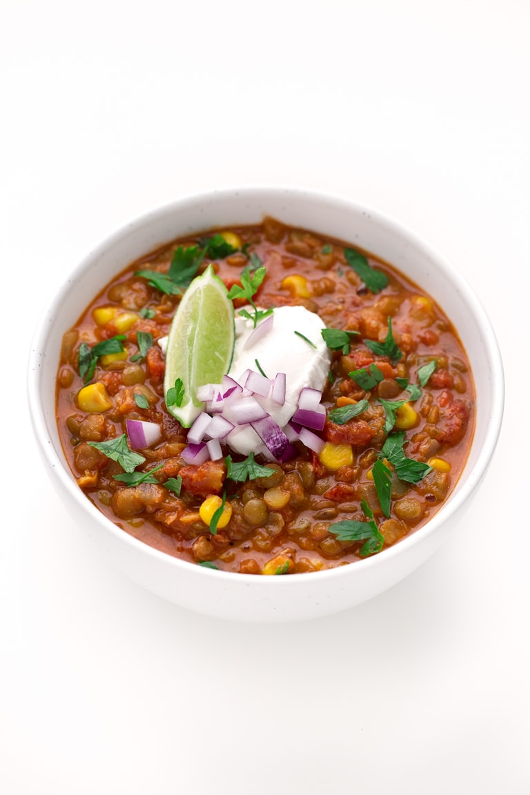 1-Pot Lentil Chili. - This 1-pot lentil chili is so nutritious, satiating and spicy so it's perfect for beat the heat or to keep you warm. We serve it with some rice and veggies.