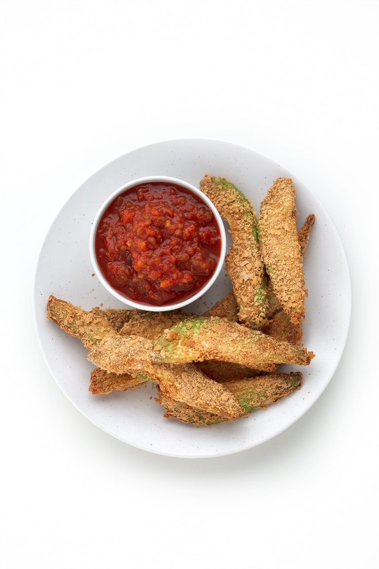 Baked Avocado Fries (Vegan and Gluten-Free) - These 7-ingredient baked avocado fries are crunchy on the outside and soft on the inside. It's a delicious, vegan, gluten-free appetizer or snack recipe.