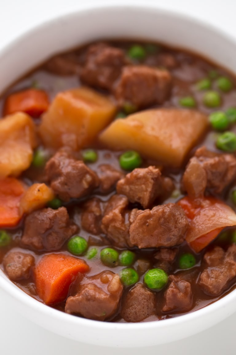 Vegan Spanish Beef Stew - We've created a vegan version of Spanish beef stew, that is also gluten-free, low in fat and high in protein. It's a delicious dinner recipe and a complete meal.