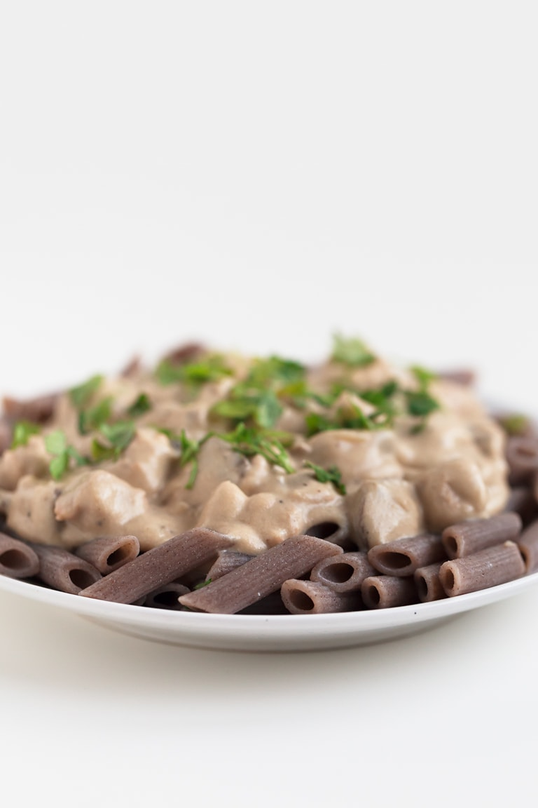 Simple Vegan Stroganoff - This simple vegan Stroganoff is a hearty and comforting dish and a family favorite. Garnish with fresh parsley and serve with pasta or rice.