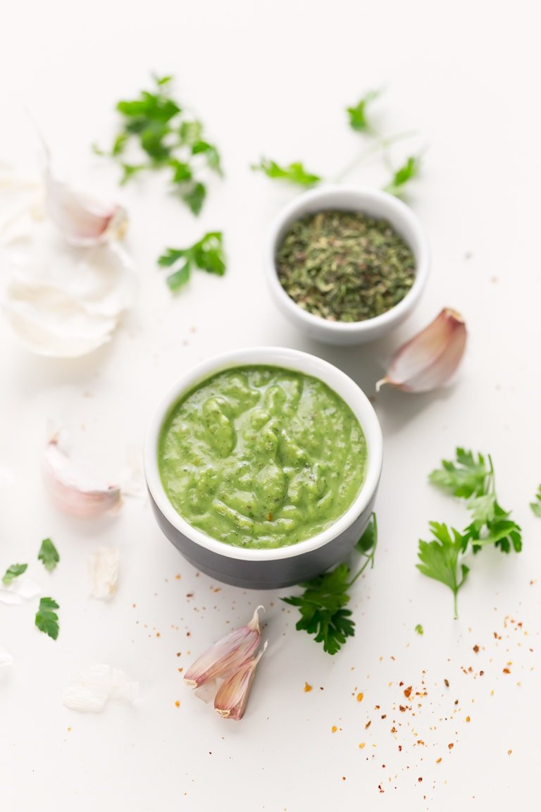 Oil-Free Chimichurri Sauce - Easy, creamy, oil-free chimichurri sauce! It only requires 5 minutes, 9 ingredients and is made with avocado instead of oil. #vegan #glutenfree #simpleveganblog