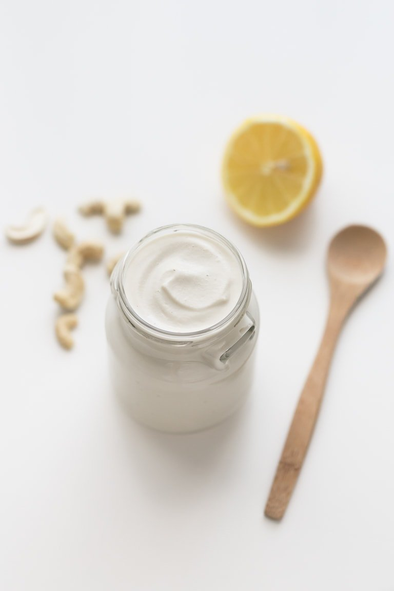 Vegan Mayo (Oil-Free) - This vegan mayo is an oil-free version of our popular vegan mayonnaise recipe. It requires just 4 ingredients and a blender. It's low in fat, so creamy and tastes amazing! #vegan #glutenfree #simpleveganblog