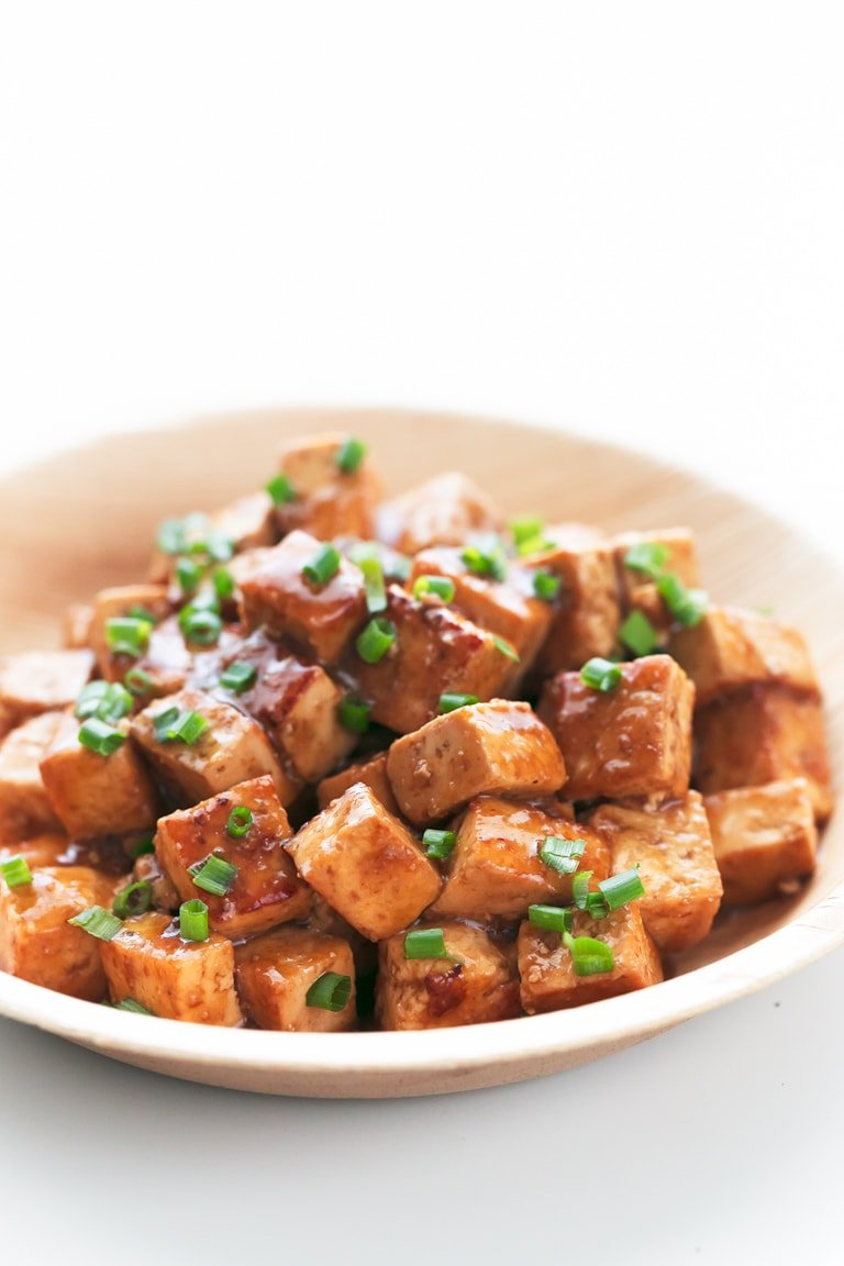 Close-up shot of a bowl of easy marinated tofu