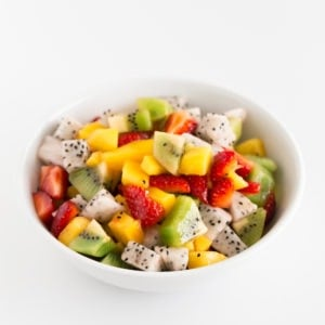 Tropical Fruit Salad. - This tropical fruit salad is a delicious, simple and healthy recipe, made with fresh fruit, lime or lemon juice and maple or agave syrup. #vegan #glutenfree #simpleveganblog