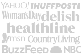An image with the places where Simple Vegan Blog has been featured: NBC,healthline, msn, delish, Country Living, YAHOO!, Womans day, BUZZFEED, Good Housekeeping, HUFFPOST.