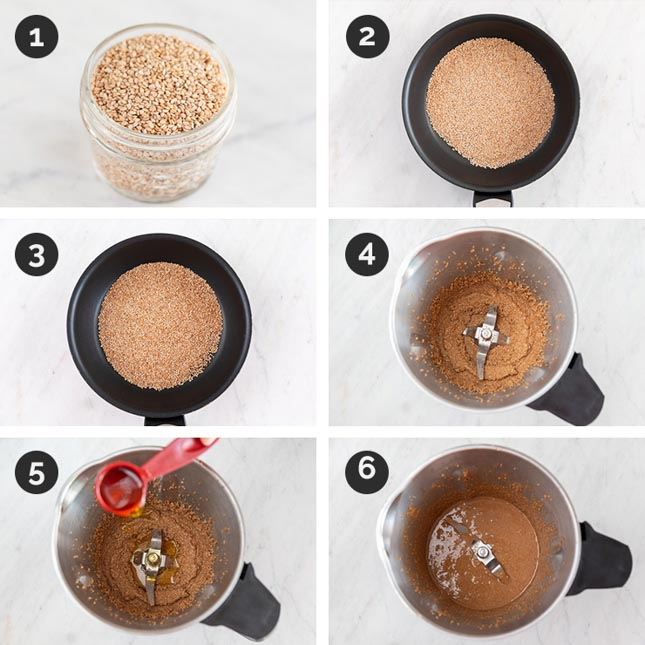 Step by step photos for how to make tahini from scratch