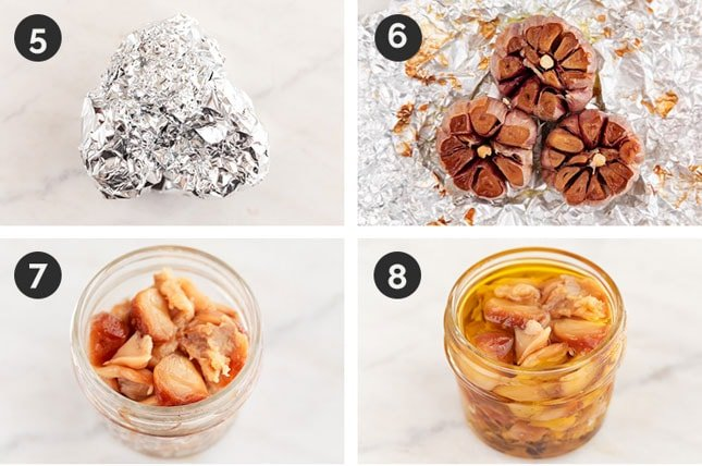 Step by step photos for how to store roasted garlic