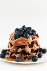 Vegan Gluten Free Blueberry Waffles. - Vegan gluten-free blueberry waffles, made with just 5 ingredients in about 30 minutes. Perfect for breakfast served with extra blueberries and maple syrup. #vegan #glutenfree #simpleveganblog