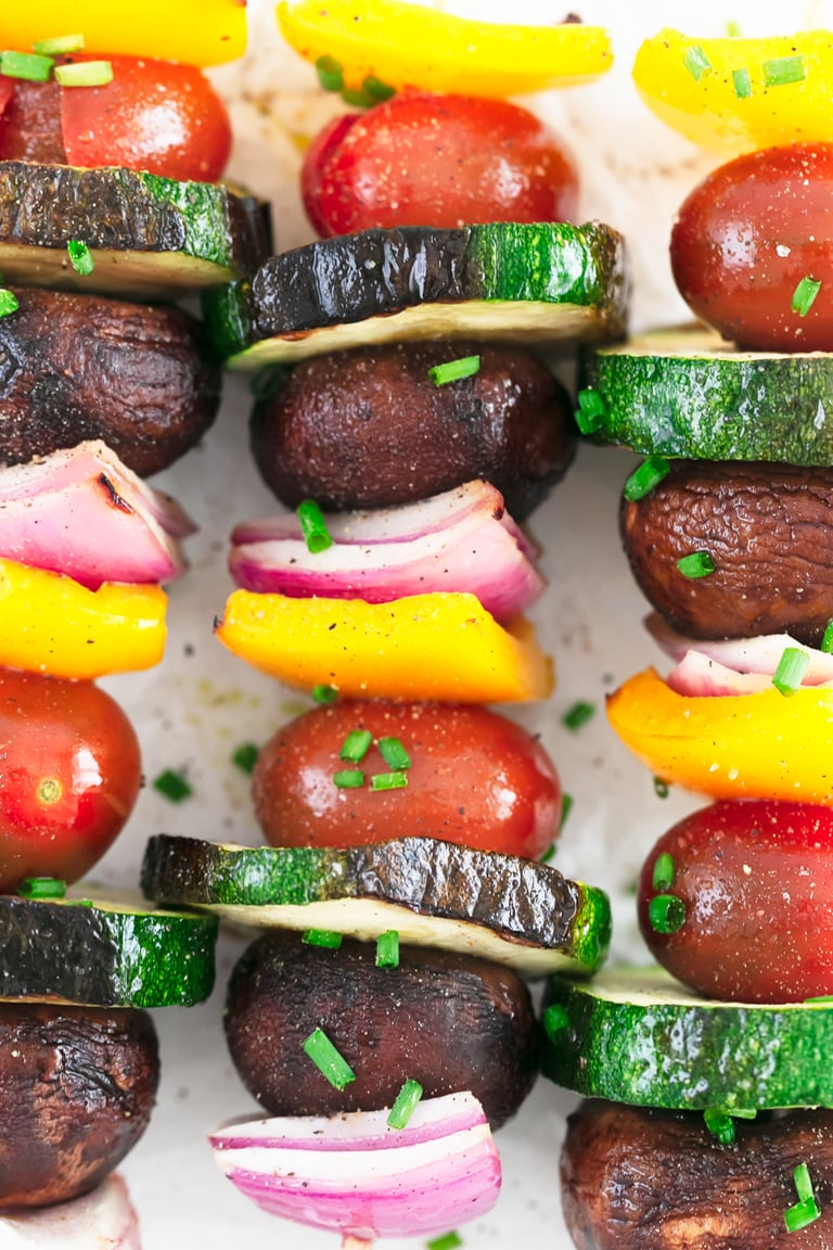 Vegetable Kabobs. - Grilled, 25-minutes vegetable kabobs, a healthy side dish to any meal. They're perfect for summertime barbecues, picnics and potlucks. #vegan #glutenfree #simpleveganblog