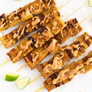 Tempeh Satay. - Tempeh satay, a plant-based version of traditional Thai chicken satay. It's a delicious dish, especially if you enjoy it with a homemade peanut sauce. #vegan #glutenfree #simpleveganblog