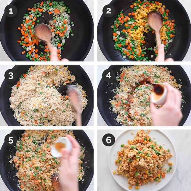 Step by step photos of how to make cauliflower fried rice from scratch