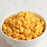 A picture of a bowl of vegan mac and cheese made from scratch