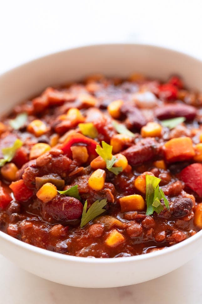 A picture of a bowl with homemade vegan chili