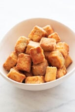Photo of a bowl of homemade baked tofu