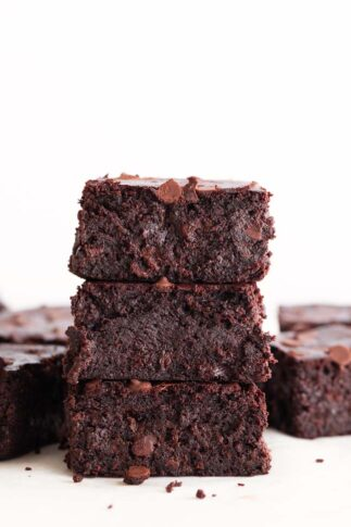 A Side Shot of Vegan Brownies with Chocolate Chips