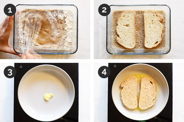 Step by step photos of how to make vegan French toast from scratch
