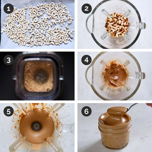 Step by step photos of how to make cashew butter